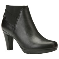 Geox Inspiration High Cone Heel Ankle Boots Black Leather