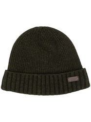 Barbour Logo Patch Ribbed Hat Green