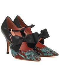 Rochas Brocade And Leather Pumps Black
