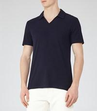 Reiss Charles Mens Ribbed Polo Shirt In Blue