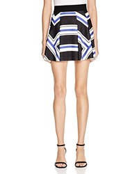 Aqua Maze Stripe Full Mini Skirt Cobalt Black Multi