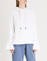 Stateside Flared Cuff Cotton Jersey Hoody White