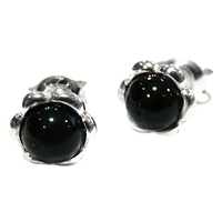 Goldmajor Round Jet Stud Earrings Black