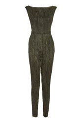 Love Wide Neck Pleated Jumpsuit By Khaki
