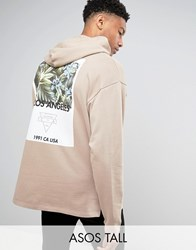 Asos Tall Oversized Hoodie With Palm Print Silver Mink Beige