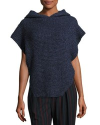 See By Chloe Hooded Cable Knit Pullover Sweater Navy