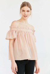 Lucca Couture Ruffle Off The Shoulder Blouse Pink