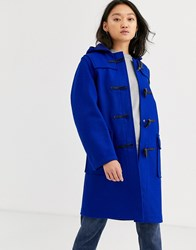 Gloverall Gloveral Original Duffle Mid Length Duffle Coat In Wool Blend Blue