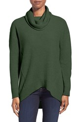 Women's Kinross Exposed Seam Cashmere Cowl Neck Sweater Evergreen