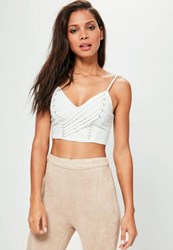 Missguided White Extreme Lace Up Zip Back Bralet