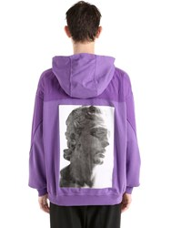 Damir Doma Hooded Zip Up Cotton Jersey Sweatshirt Purple