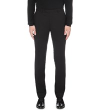 Sandro Textured Slim Fit Tapered Wool Pique Trousers Black