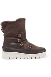 Australia Luxe Collective Icon Buckled Leather Paneled Shearling Boots Dark Brown