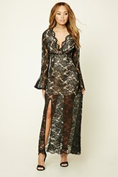 Forever 21 Lace Maxi Dress Black Nude