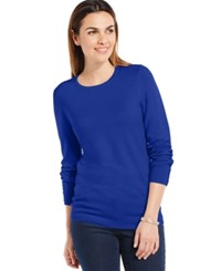 Jm Collection Crew Neck Solid Button Sleeve Sweater Bright Blue
