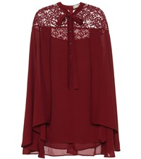 Elie Saab Silk Blend Blouse With Lace Red