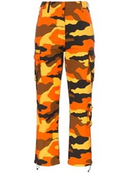 Off White Camo Print Straight Leg Cropped Trousers Orange
