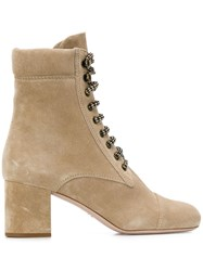 Miu Miu Suede Hiking Ankle Boots Neutrals