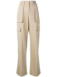 Aspesi Wide Leg Cargo Trousers Neutrals
