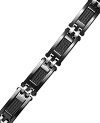 Sutton By Rhona Sutton Men's Black Ion Plated Stainless Steel Cable Slot Link Bracelet