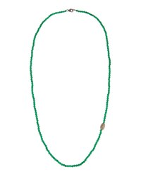 Bavna Long Green Onyx And Diamond Beaded Necklace