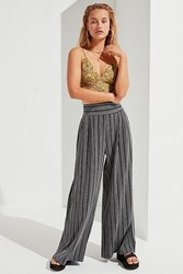 Urban Outfitters Uo Striped Palazzo Wide Leg Pant Black White
