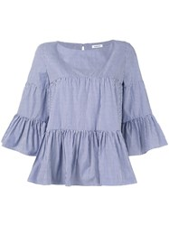 P.A.R.O.S.H. Striped Tiered Top Women Cotton S Blue