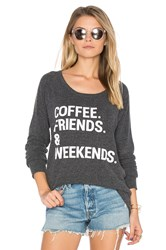Chaser Coffee Friends And Weekends Pullover Charcoal