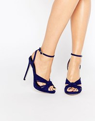Little Mistress Hayworth Cobalt Twisted Ankle Strap Heel Sandals Navy