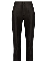 Isabel Marant Roan High Rise Sandwashed Satin Trousers Black