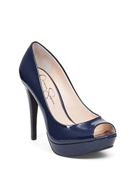 Jessica Simpson Kelii Open Toe Pumps Navy Blue