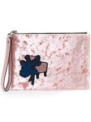Msgm Floral Patch Clutch Pink And Purple