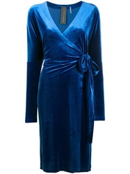 Norma Kamali Velvet Wrap Dress Blue