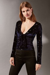 Urban Outfitters Uo Velvet Star Knot Front Top Navy