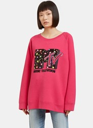 Marc Jacobs Oversized Sequin Embroidered Mtv Sweater Black