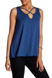 Bobeau Cross Front Sleeveless Tank Blue