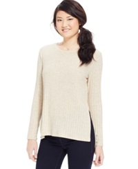 One Clothing Juniors' Side Slit Rib Knit Top Oatmeal