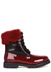Mr And Mrs Italy Fur Embellished Leather Ankle Boots Black And Red