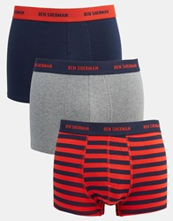Ben Sherman 3 Pack Trunks In Red Stripe Red