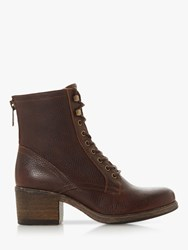 Bertie Painter Leather Lace Up Ankle Boots Brown
