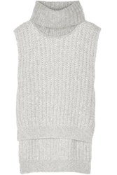 3.1 Phillip Lim Ribbed Knit Turtleneck Sweater Light Gray