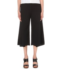 Victoria Beckham Cropped High Rise Crepe Trousers Black