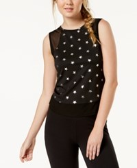 Material Girl Active Juniors' Metallic Print Mesh Tank Top Black Combo