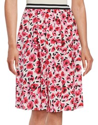 Kate Spade Floral Print Pleated Skirt Cream Red