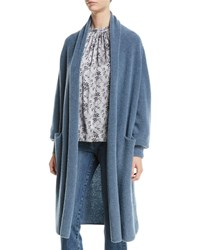 Co Open Front Boucle Knit Long Wool Blend Cardigan Blue