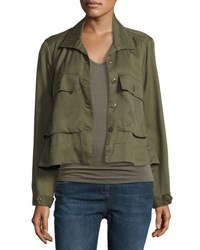 Chelsea And Theodore Button Front Flap Pocket Jacket Olive