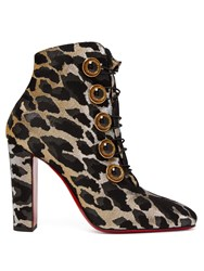 Christian Louboutin Lady See 85 Leopard Lurex Ankle Boots Leopard