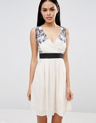 Pussycat London Lace Top Skater Dress Cream