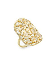 Saks Fifth Avenue Crystal And Sterling Silver Statement Ring Gold