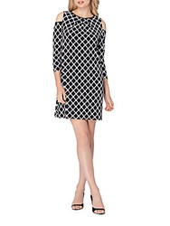 Tahari By Arthur S. Levine Printed Cold Shoulder Dress Black White